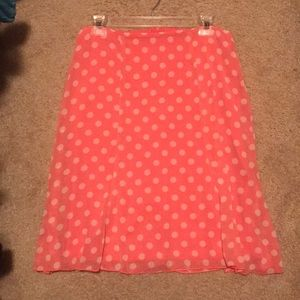 Peachy pink polka dotted skirt